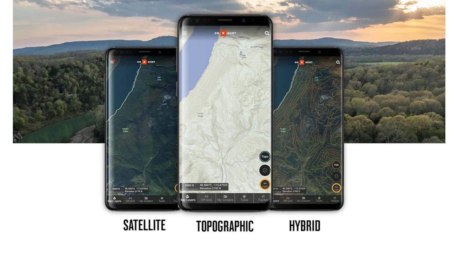 Screenshots of the onX Hunt app