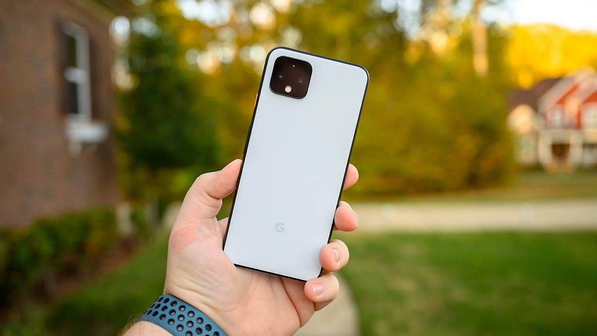 Google Pixel 4 Clearly White Held Afar
