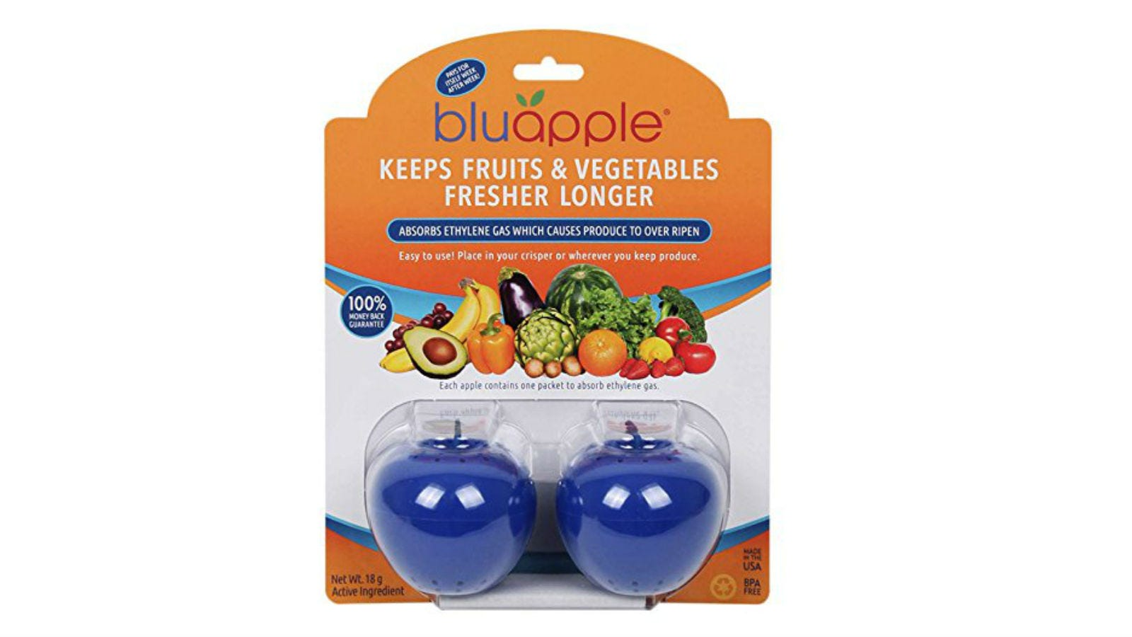 A two-pack of Bluapple Produce Freshness Saver Balls.