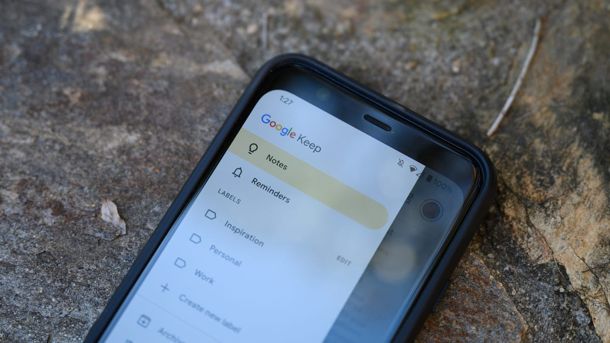 Google Keep Android App Laying on Rock