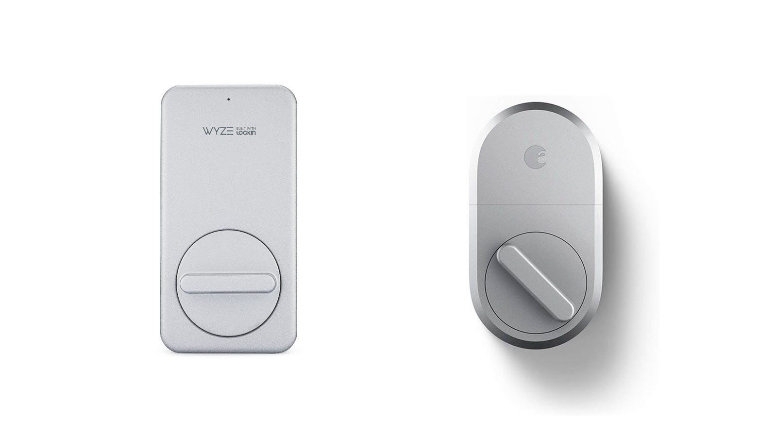 A silver Wyze Smart Lock next to a silver August Smart Lock Pro.