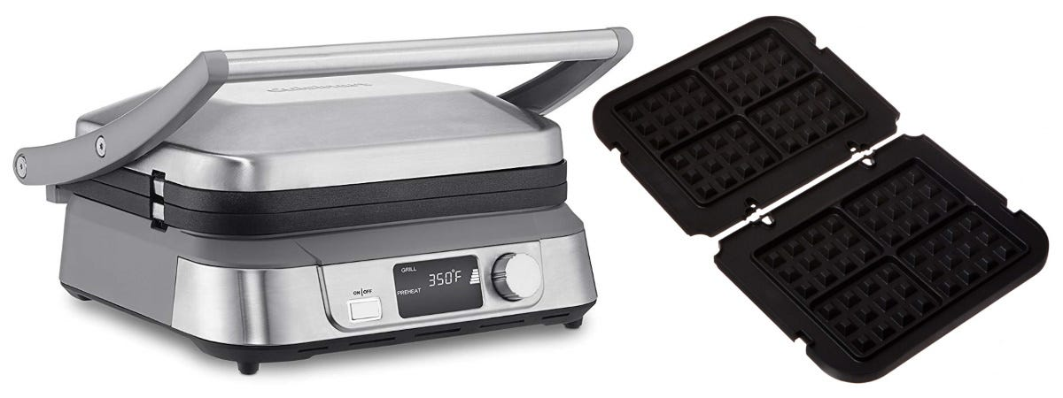 The Cuisinart GR-5B Griddler next to the GR-WAFP Waffle Plates.