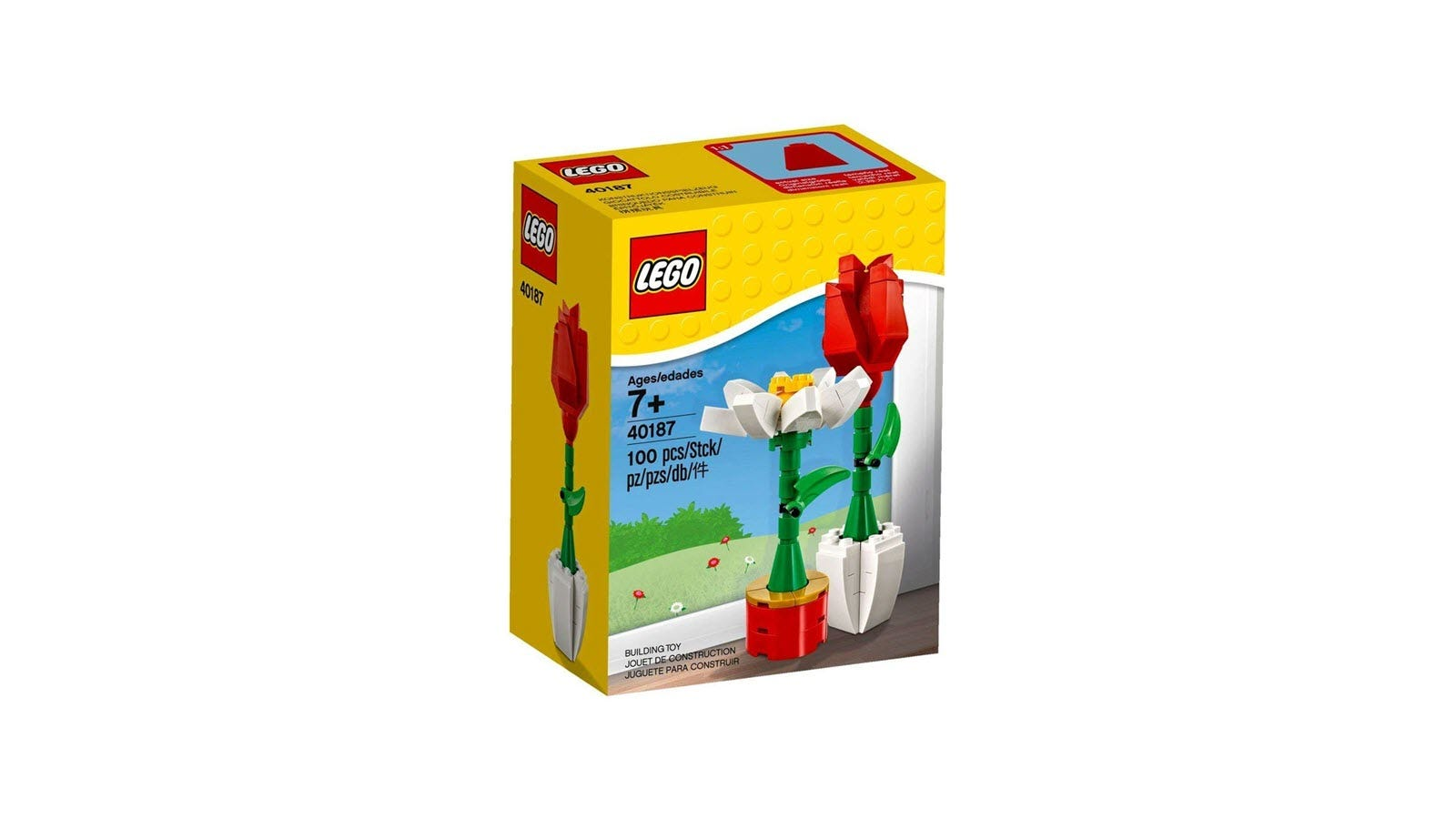 A LEGO box with a LEGO rose and daisy in front of a painted outdoor scene.
