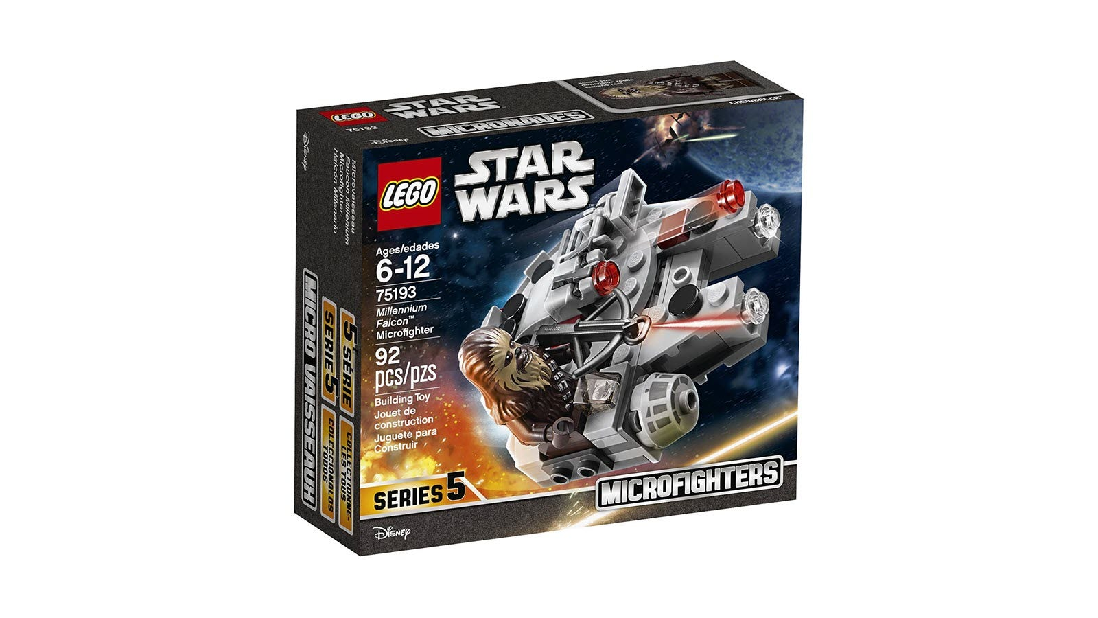 A box featuring LEGO Chewbacca riding in a Lego Millennium Falcon