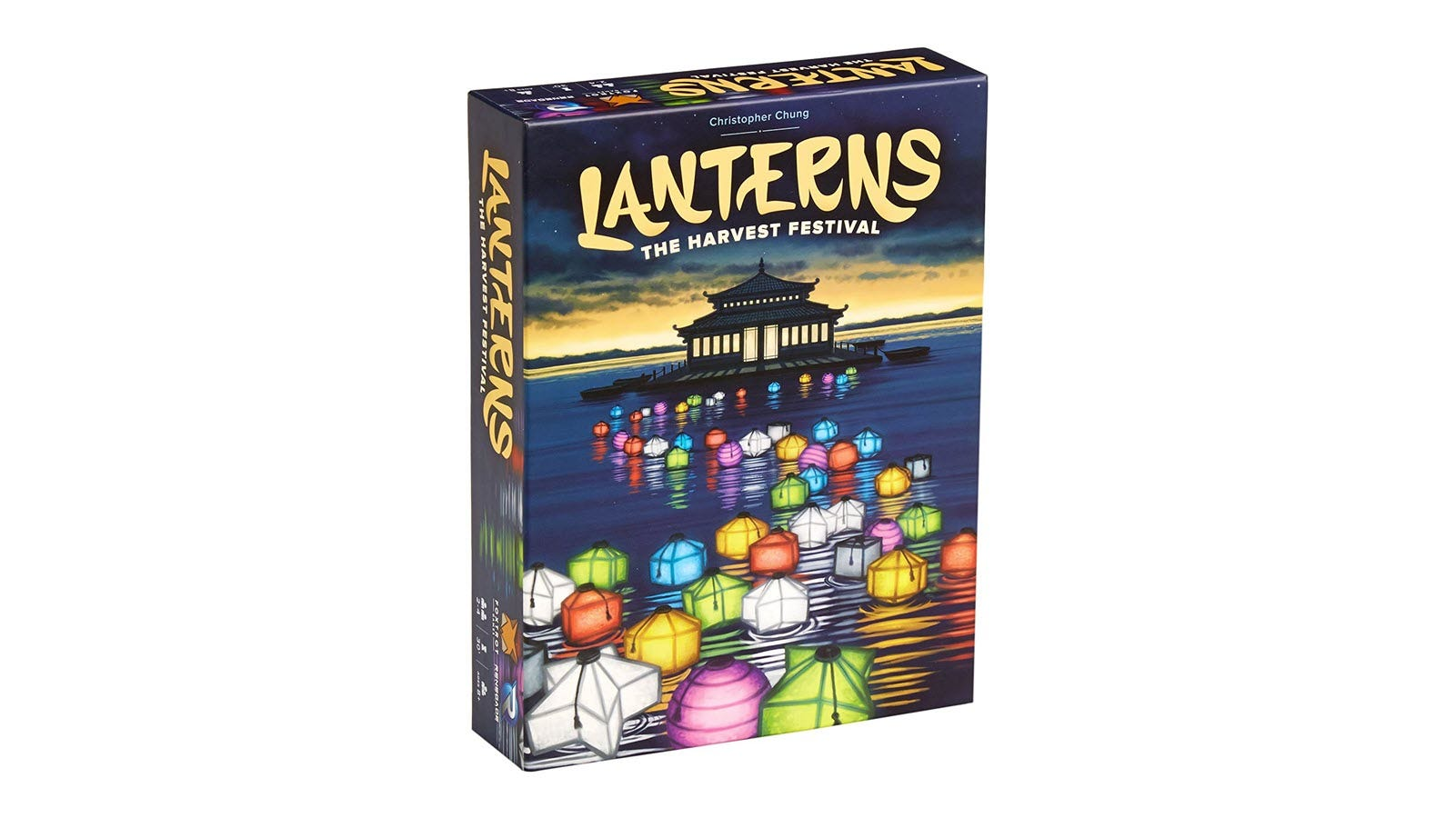 The Lanterns game box featuring colored lanterns floating in a line on a lake.