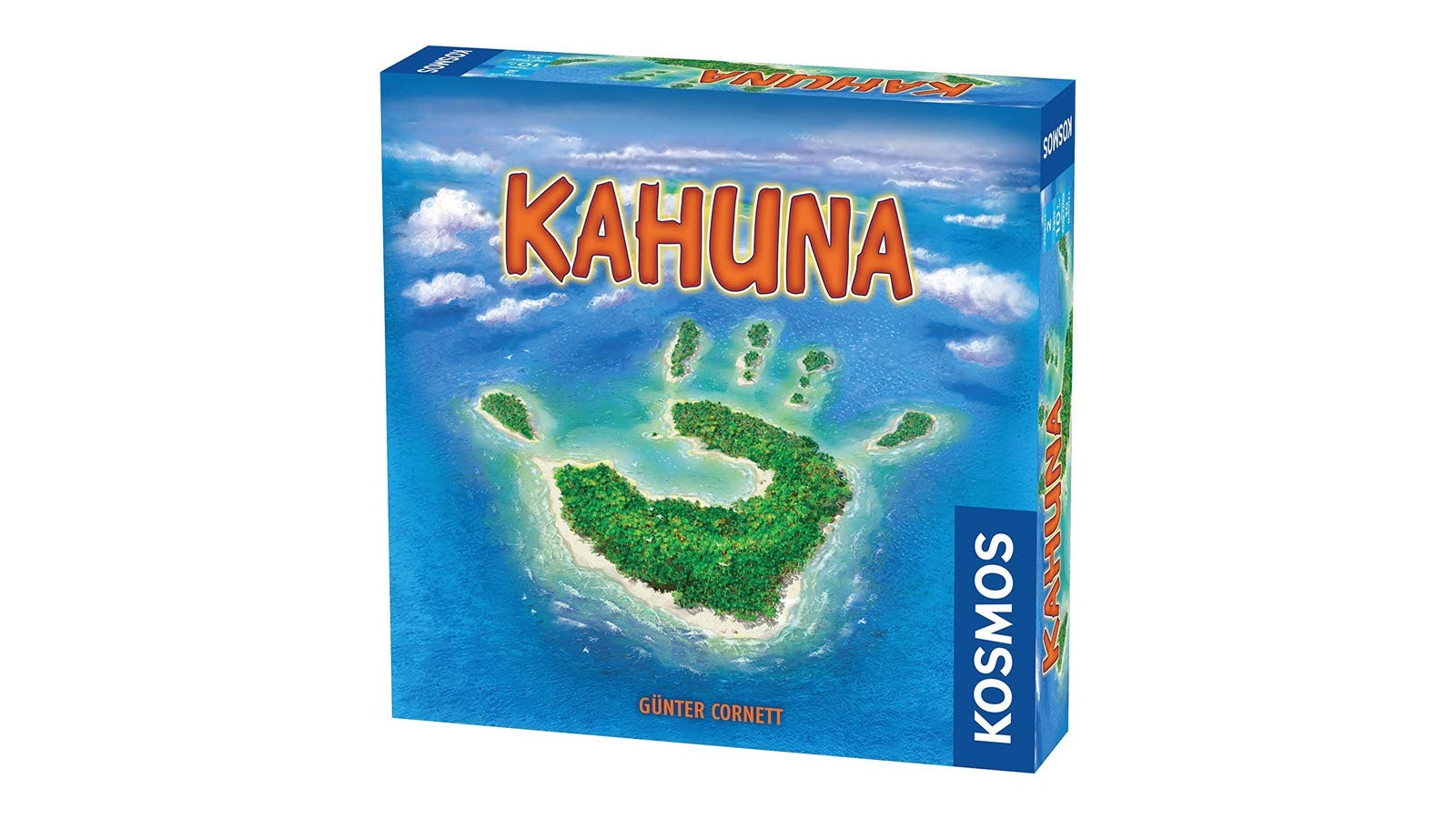 The Kahuna board game box, featuring a hand-shaped island.