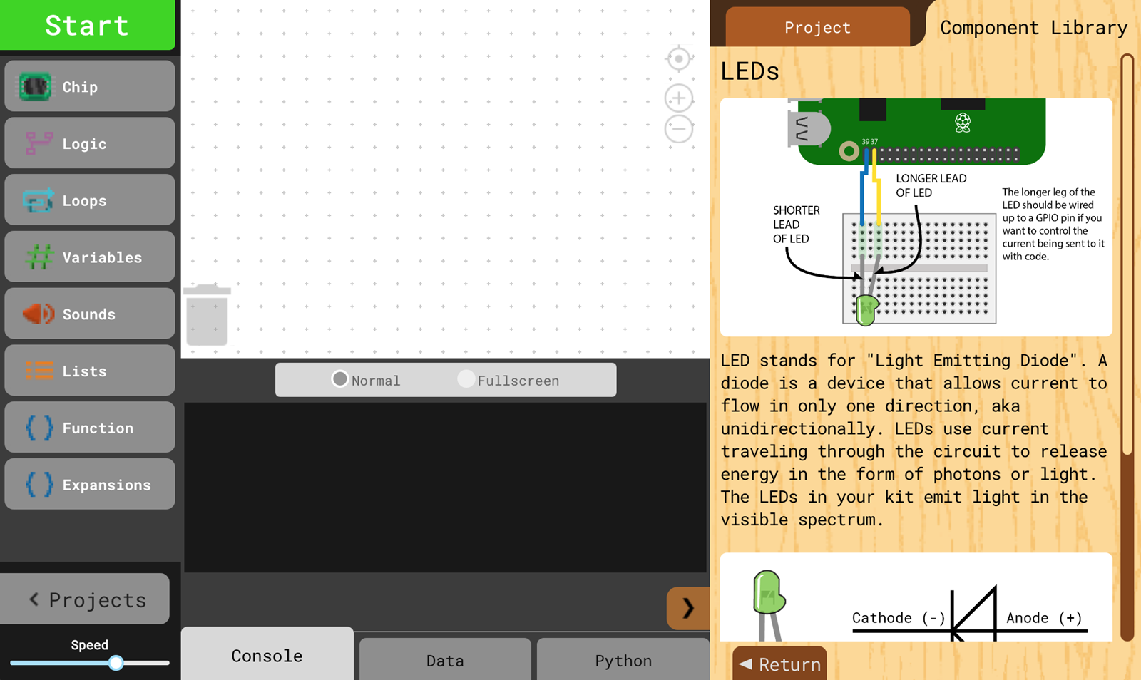 The component library, featuring a coding interface and information about Breadboards