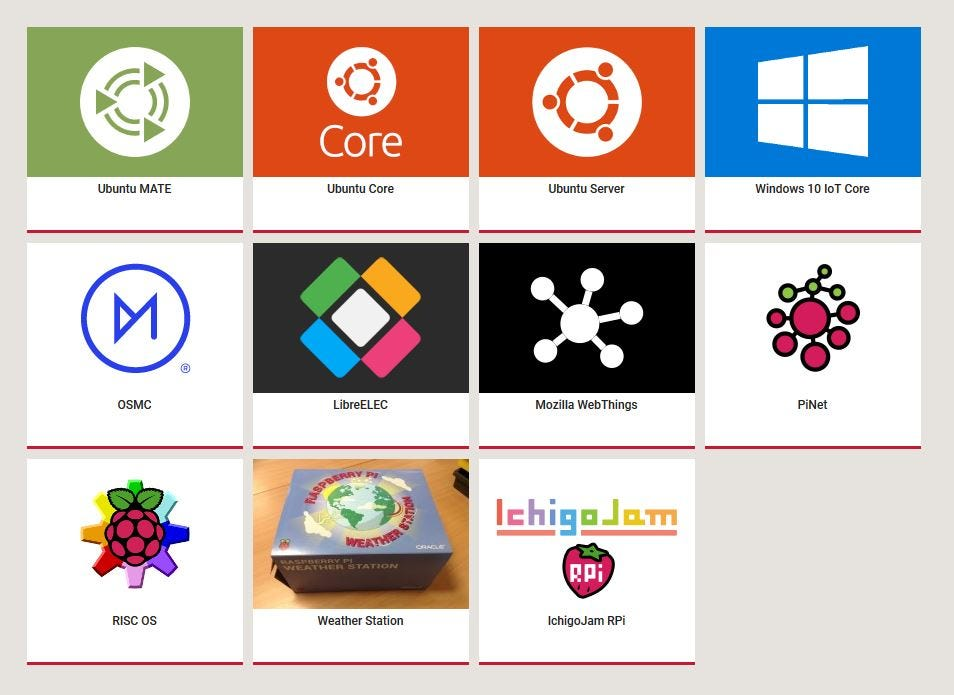 The logos of all the operating systems available on the Raspberry Pi.
