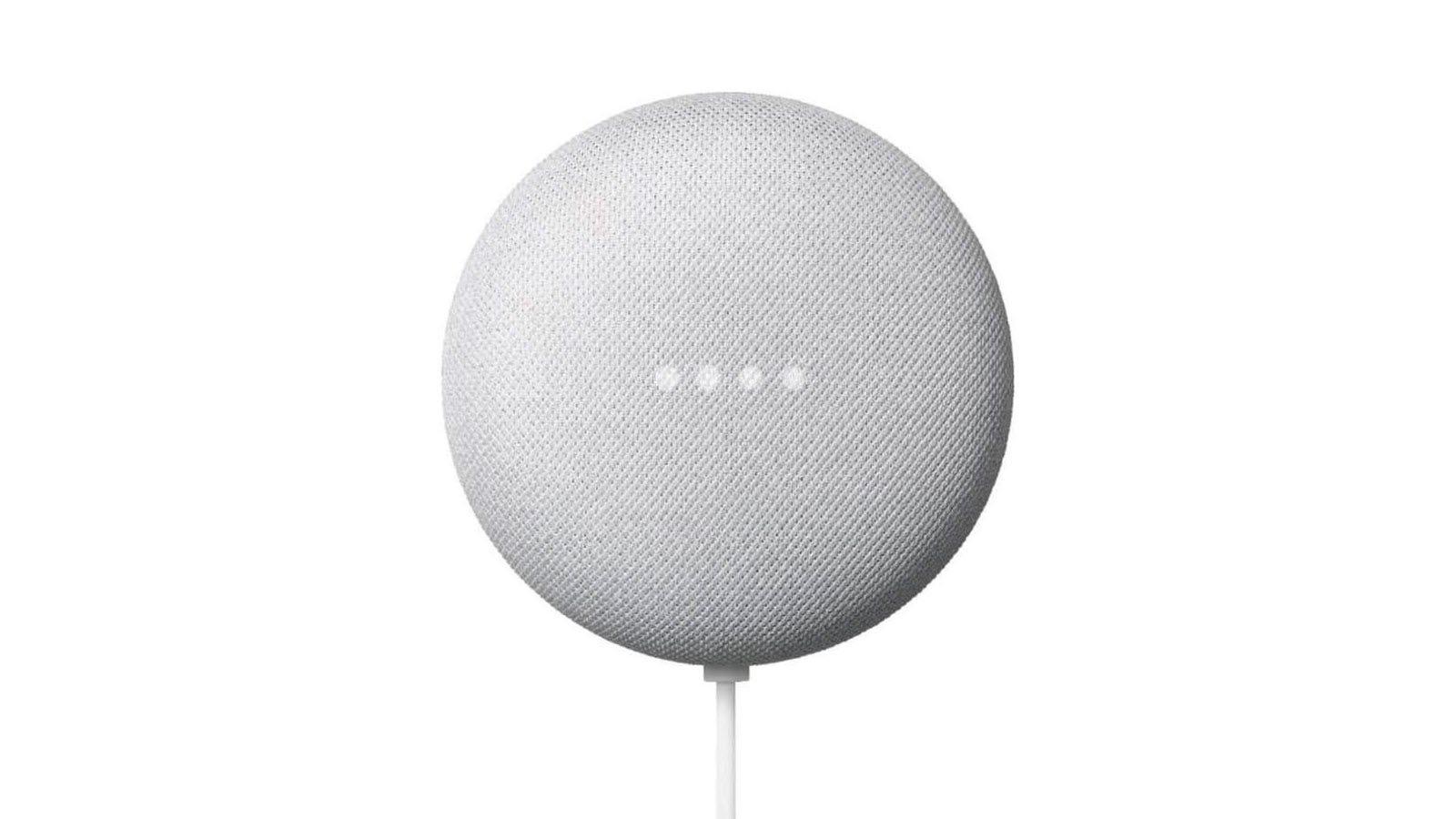 A white Google Nest Mini with four white LEDs.