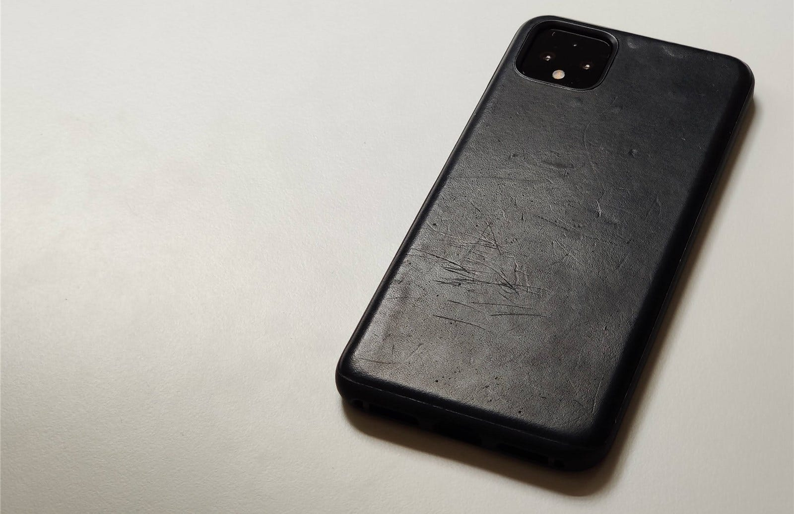 The Pixel 4 XL with the Nomad Rugged Case in Black