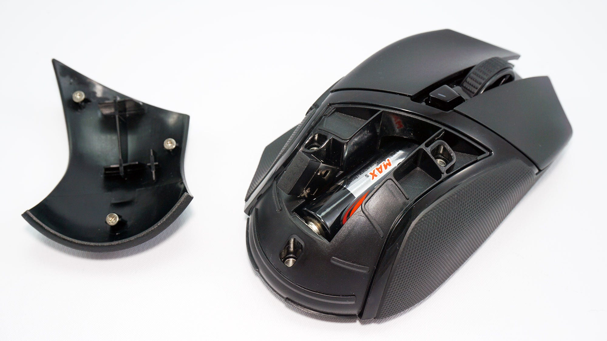 The mouse's exposed battery bay.