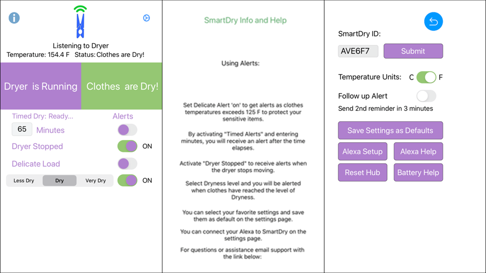 The SmartDry App on a smartphone.