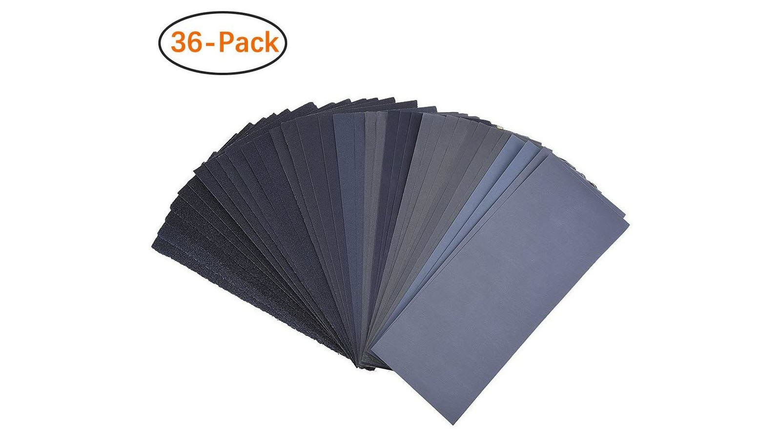 The thirty-six sheets of sandpaper in the Miady pack fanned out in a semicircle.