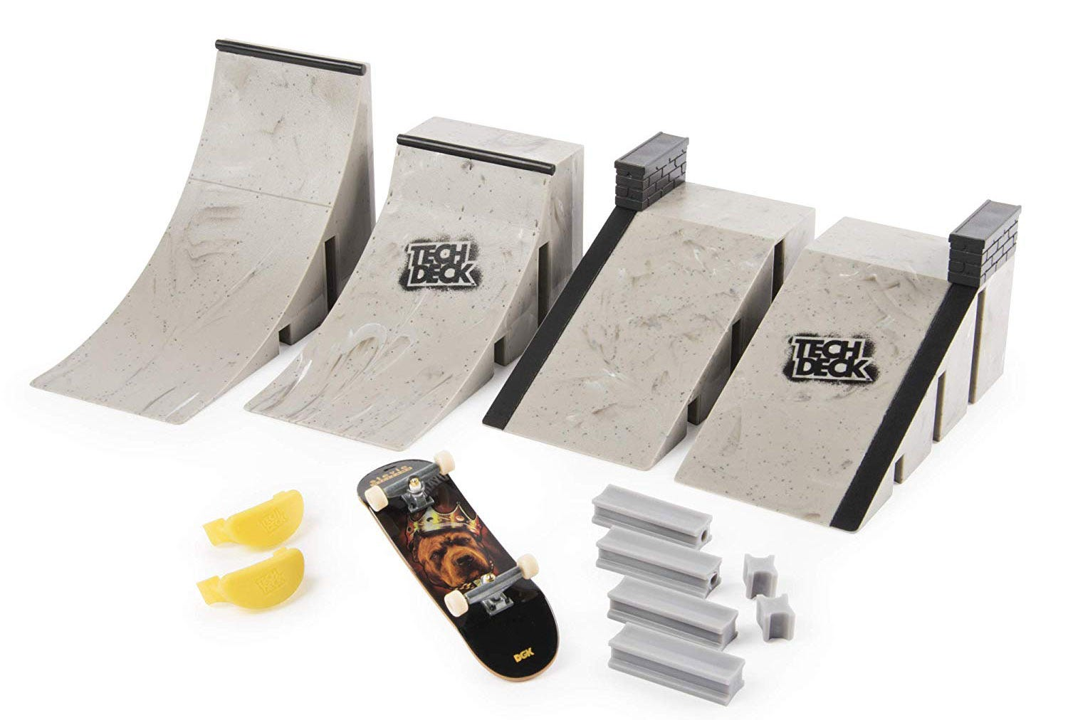 A finger skateboard set with plastic ramps.