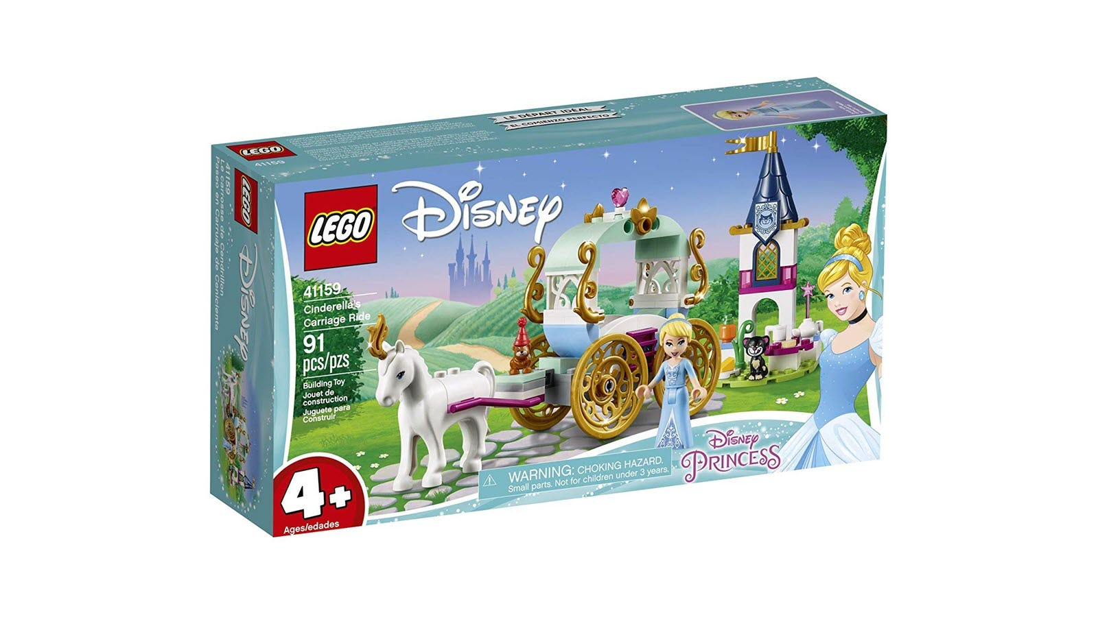 A box featuring LEGO Cinderella and a horse drawn carriage.