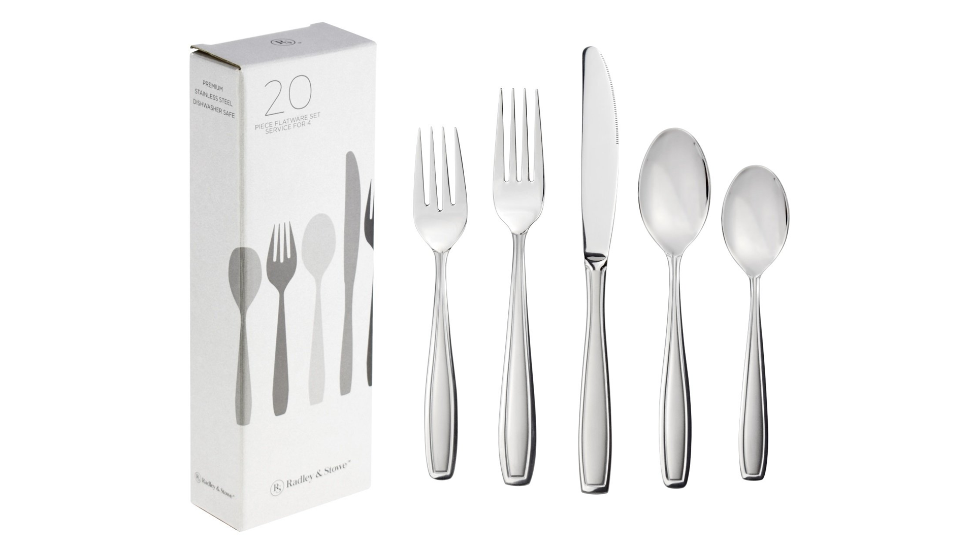The Radley and Stowe 20-piece flatware set.