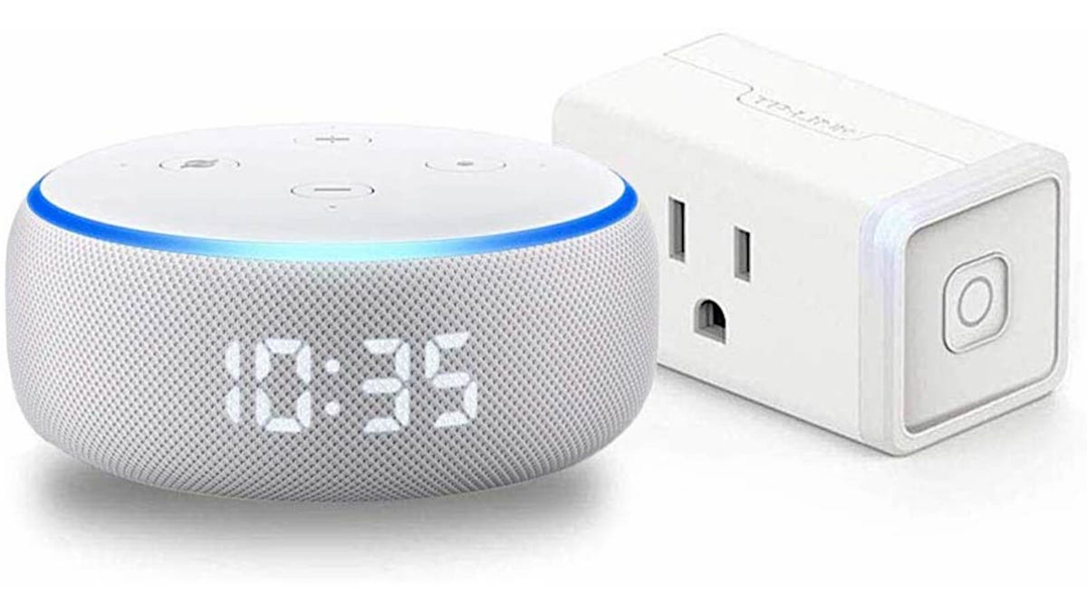 Echo Dot with clock and TP-Link Kasa smart plug