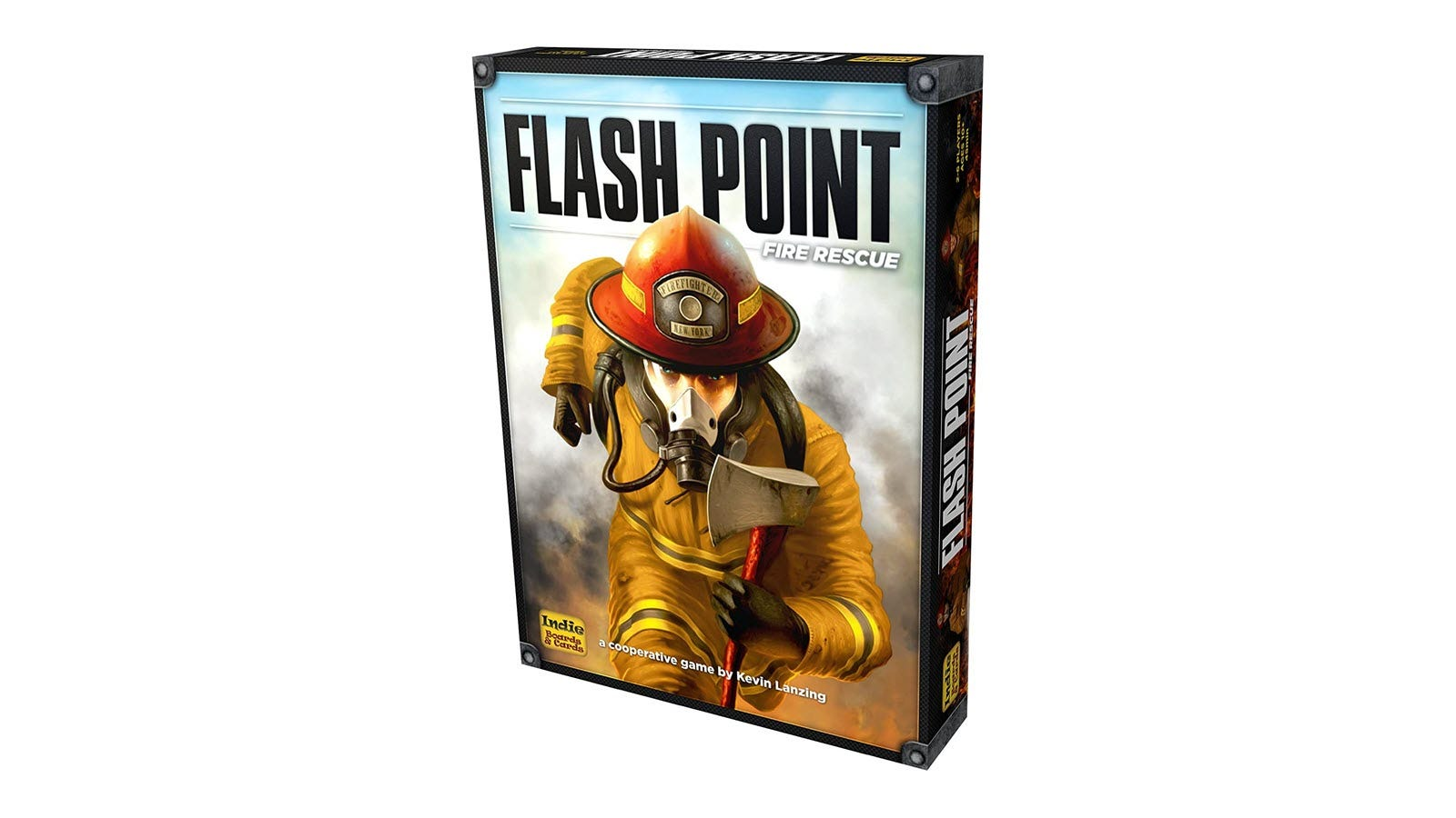 The Flash Point Fire Rescue game box featuring a firefighter holding an axe.