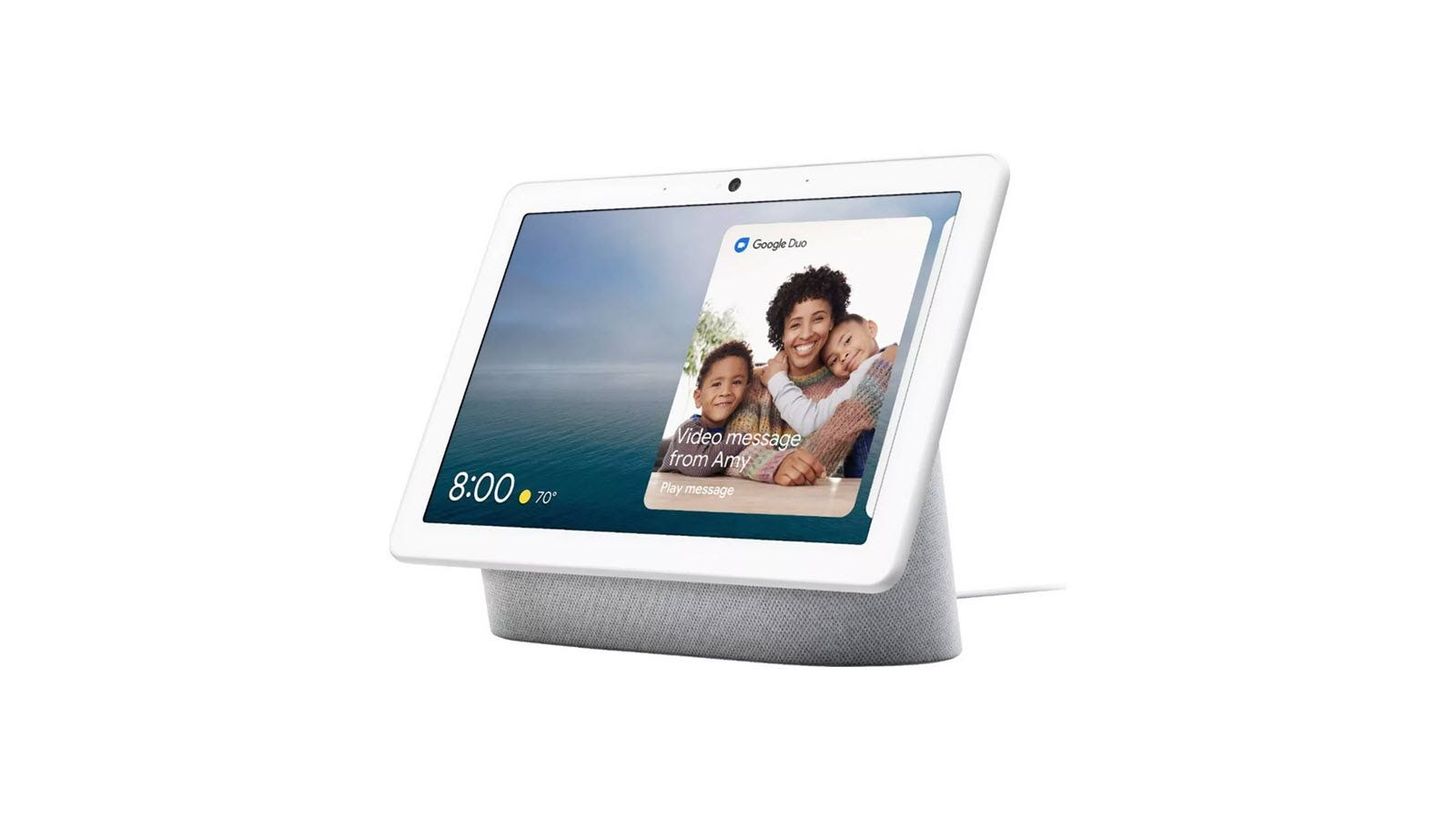 A Nest Hub Max with a picture of a mother and two children.