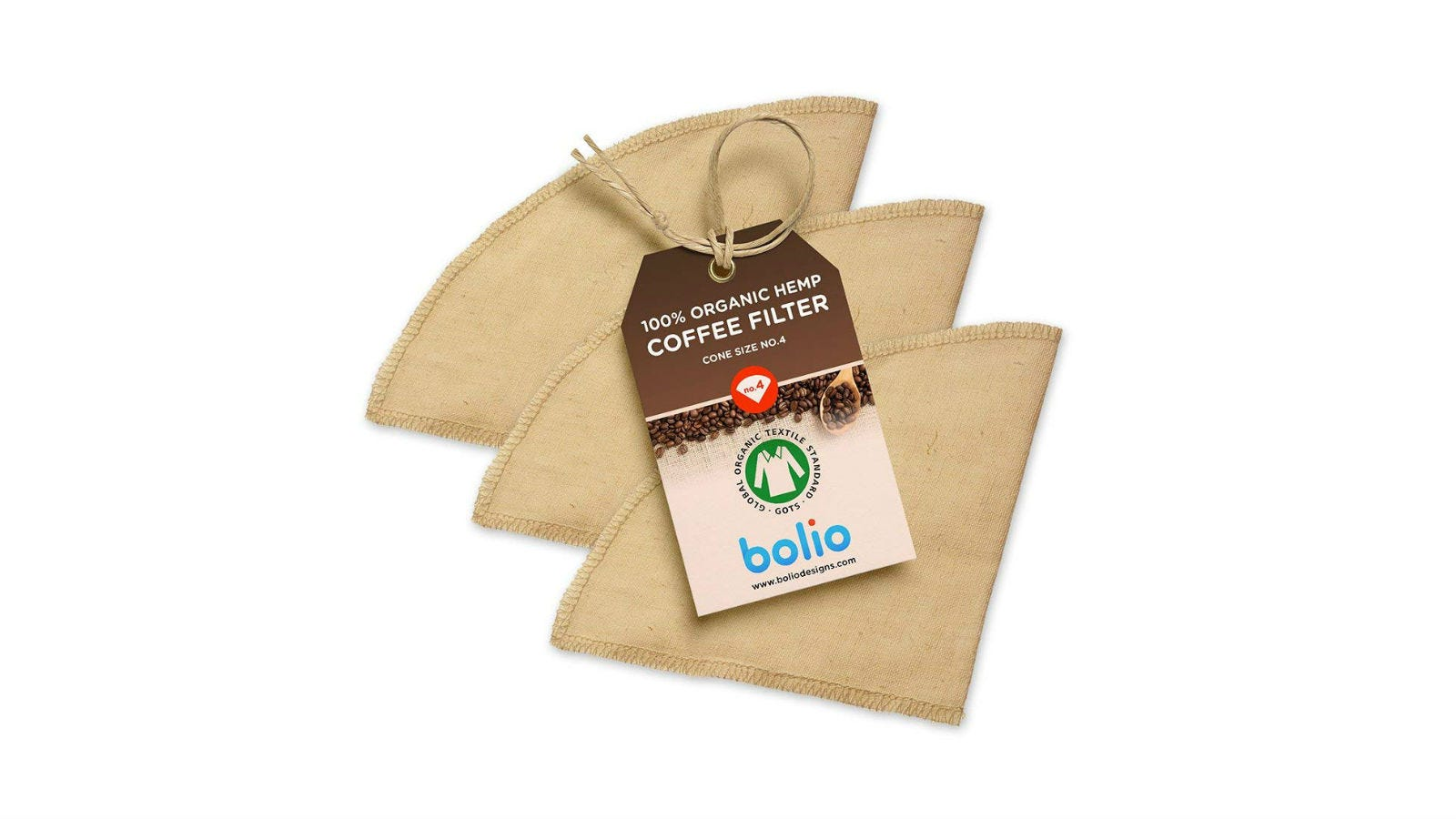 Three Bolio Organic Hemp Cone Coffee Filters