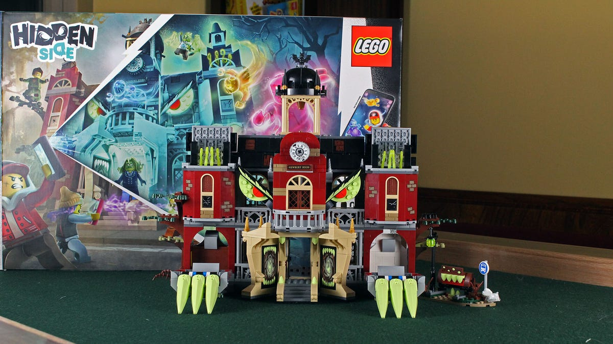 """The Newbury High School LEGO set in """"Monster Mode"""" in front of the Kit's Box"""