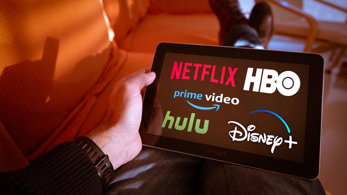 Streaming service logos on an iPad
