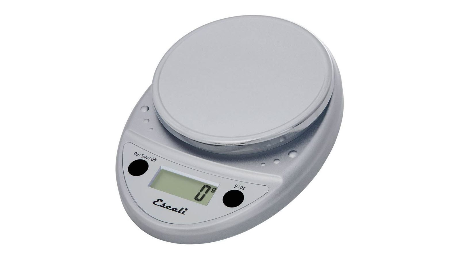 A silver scale with two black buttons and an LCD screen reading 0 grams.