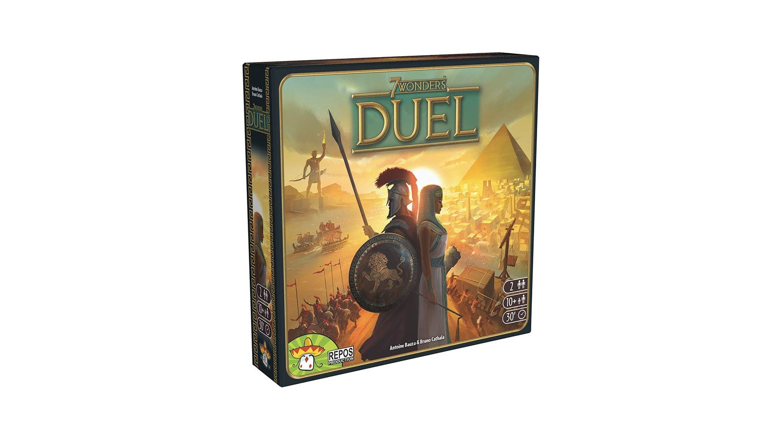 The 7 Wonders: Duel box, featuring a man and woman standing back-to-back.