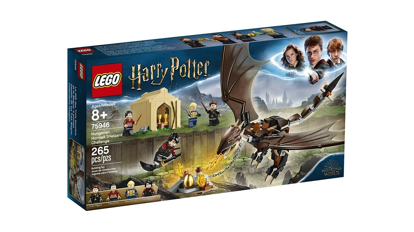 A box featuring LEGO Harry Potter flying on a broom near a LEGO Dragon
