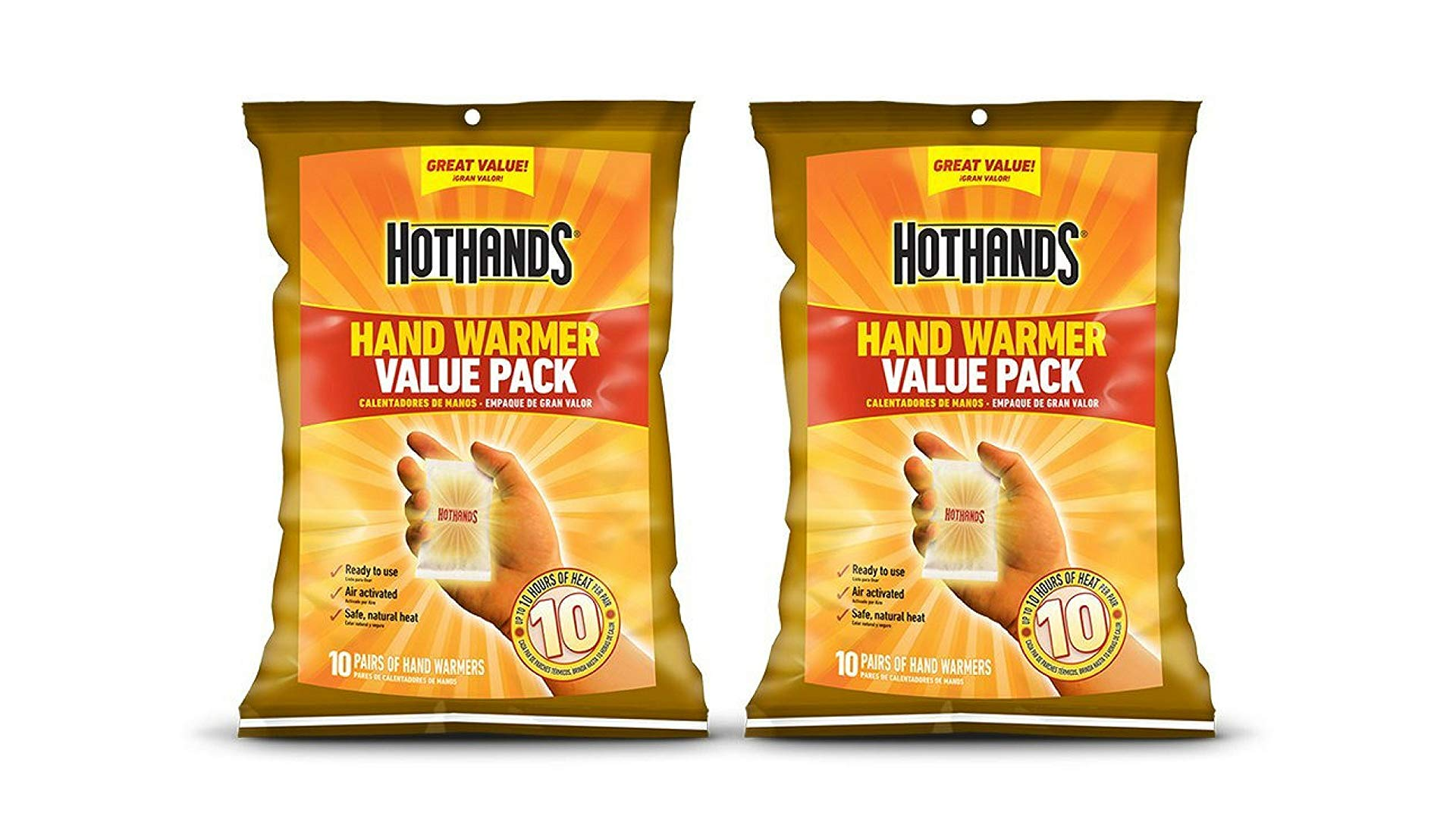 Two packs of HotHands hand warmers.