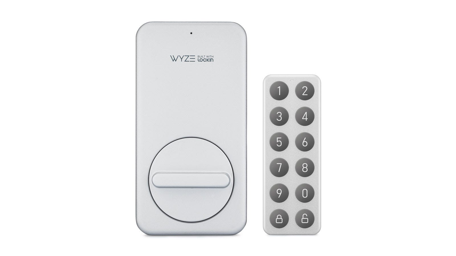 A white Wyze Smart Lock next to a white keypad with gray numeric buttons.