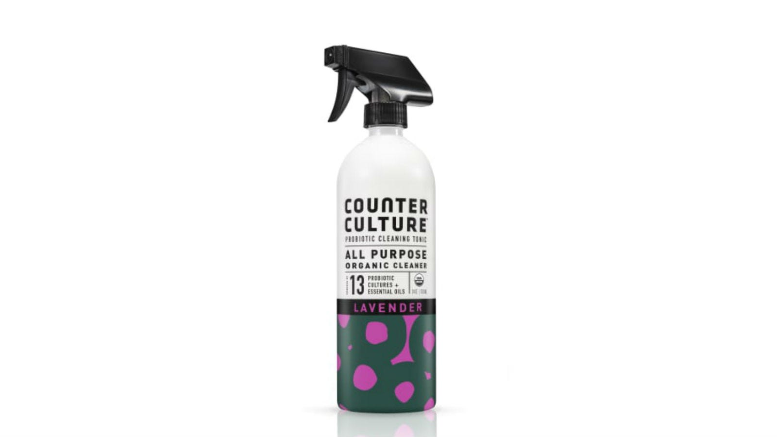 A spray bottle of Counter Culture Probiotic All-Purpose Organic Cleaner.