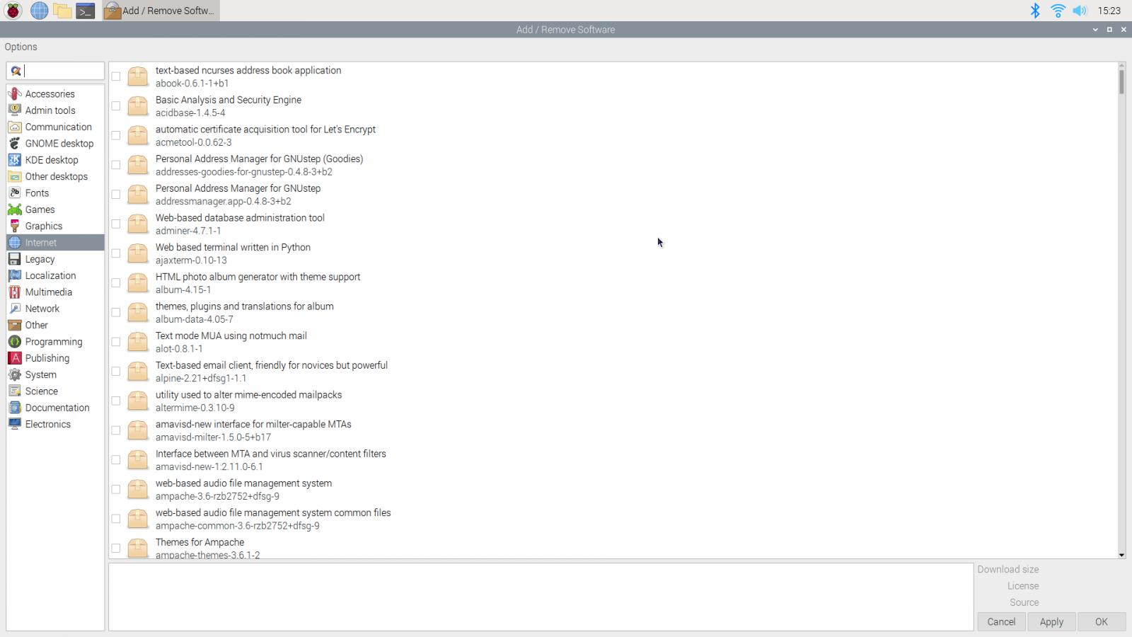 "The ""Internet"" submenu of the ""Add/Remove Software"" menu."