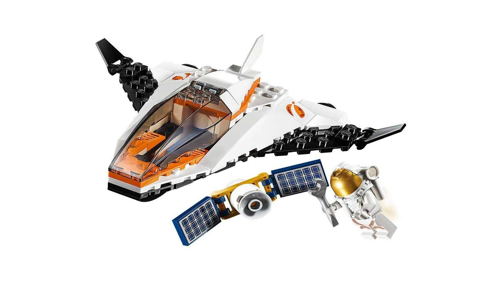 A LEGO satellite, shuttle, and astronaut mini-fig.