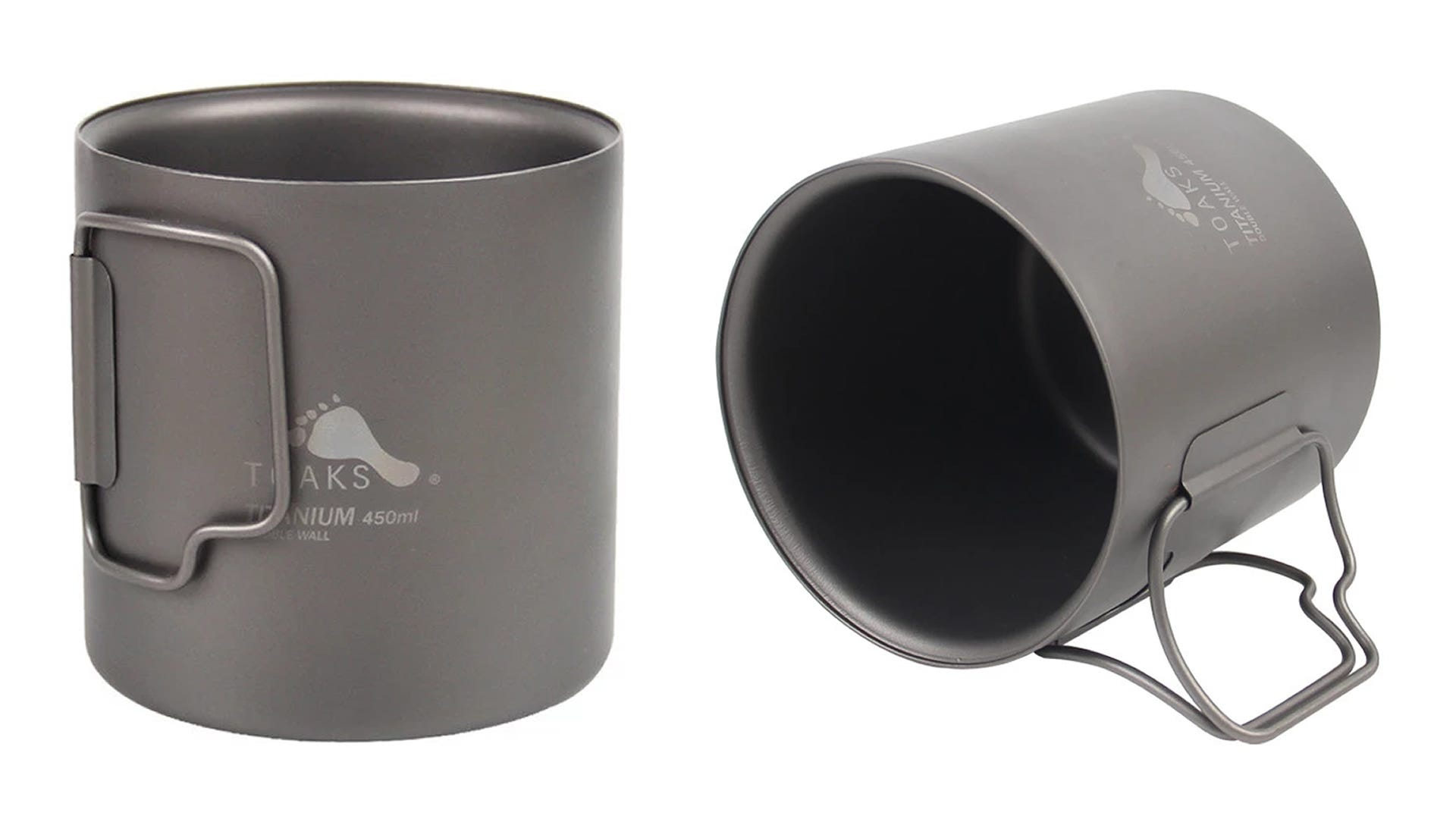 Two TOAKS Titanium Double Wall Cups.
