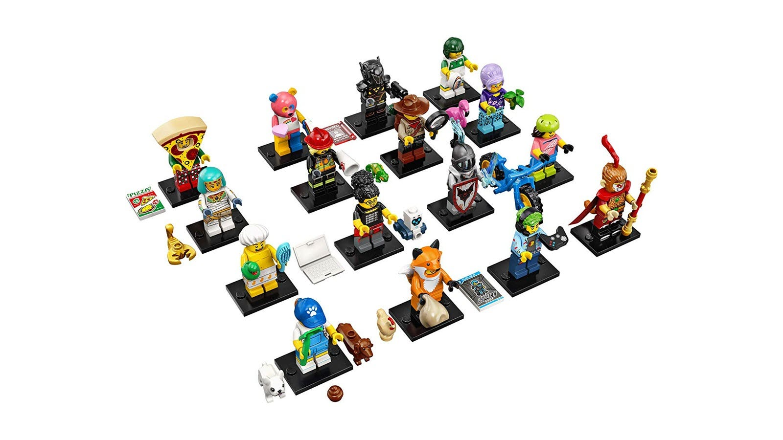 A group of 16 LEGO Minifigures dressed in adventurous costumes.