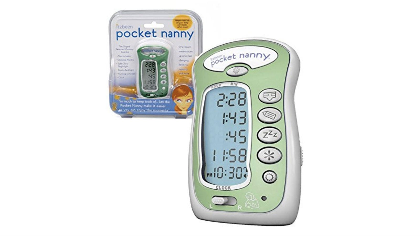 The Itzbeen Pocket Nanny in its package next to one outside the packaging.