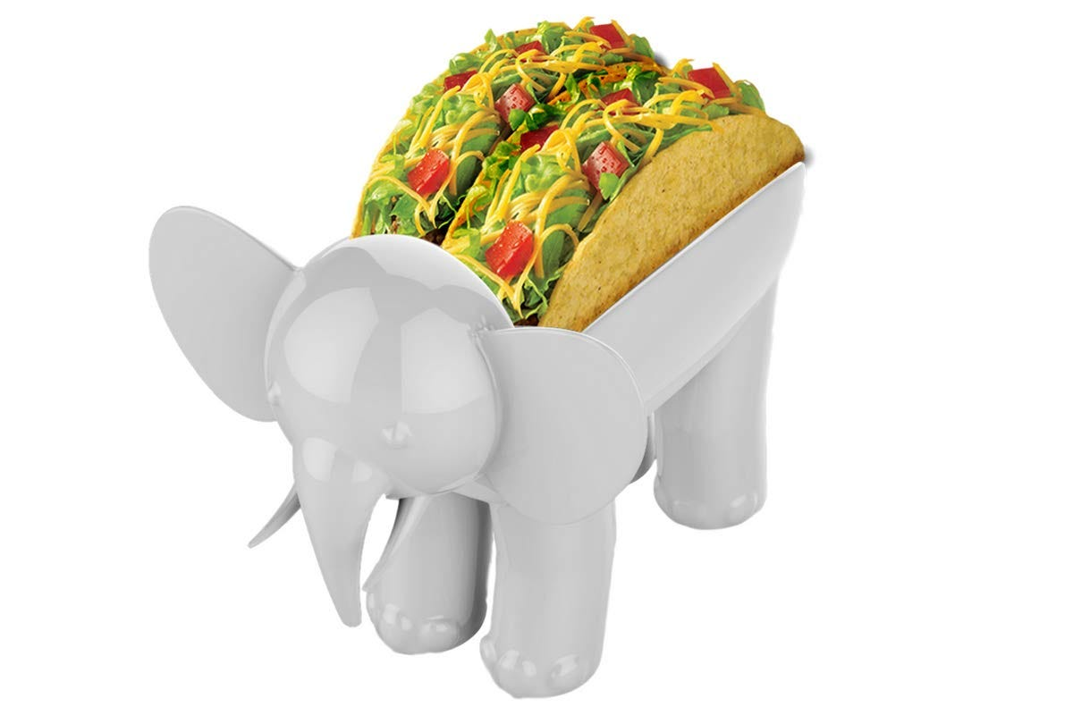 A tacky holder in the shape of a white elephant.