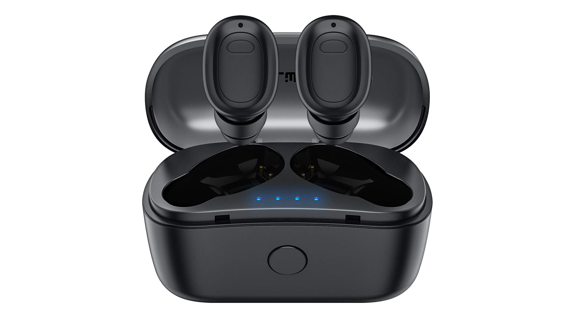 The FALWEDI wireless earbuds above their charging case.