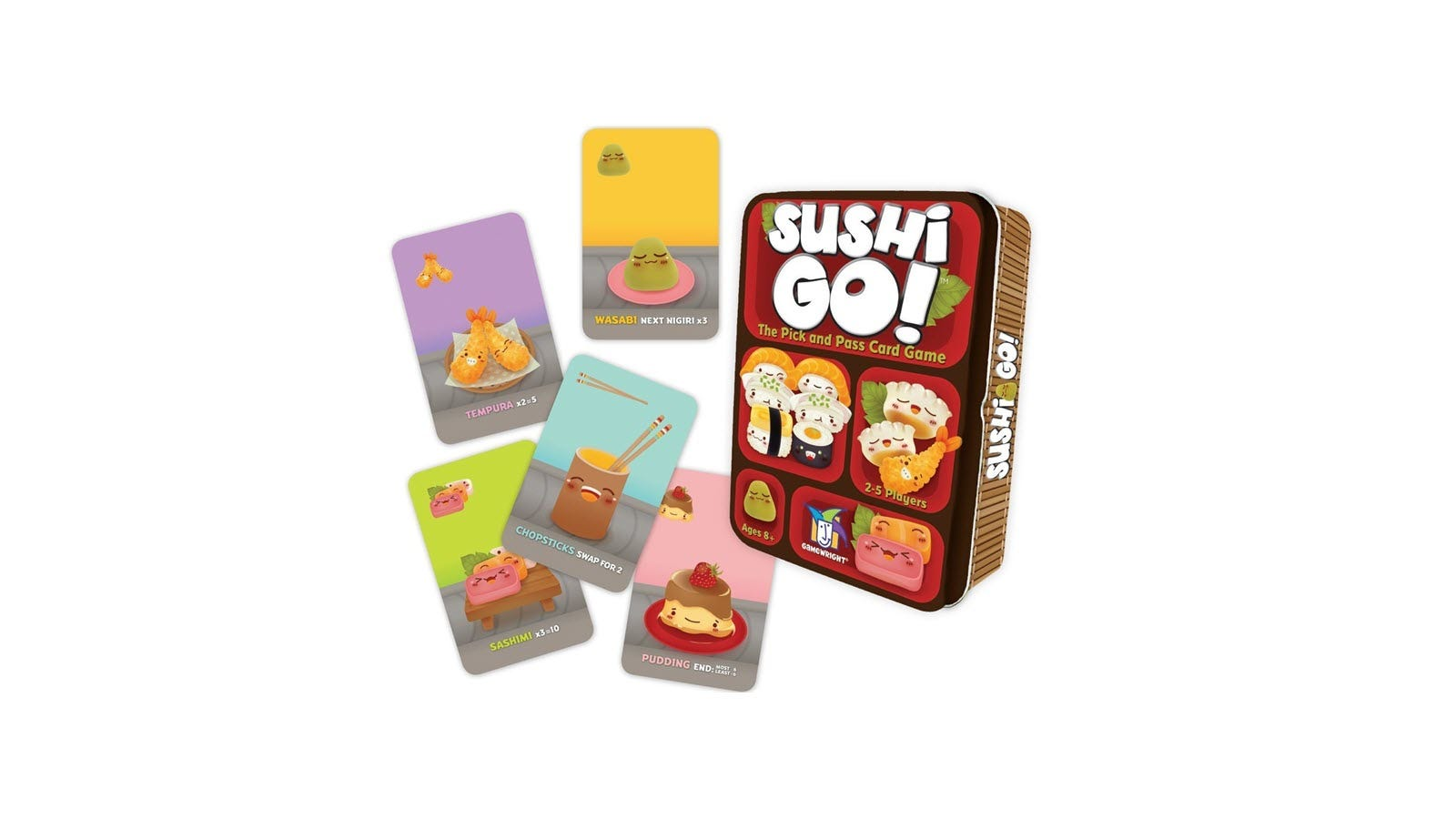 The Sushi Go! card game box, and five cards from the game.