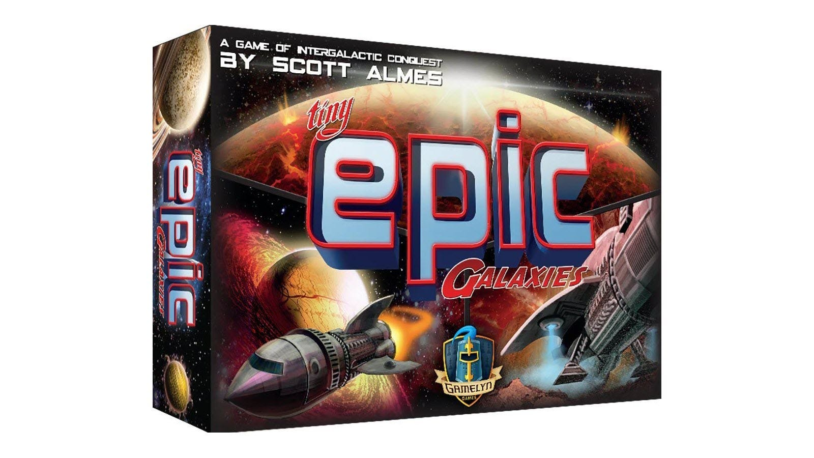 The Tiny Epic Galaxies board game box featuring spaceships and planets.
