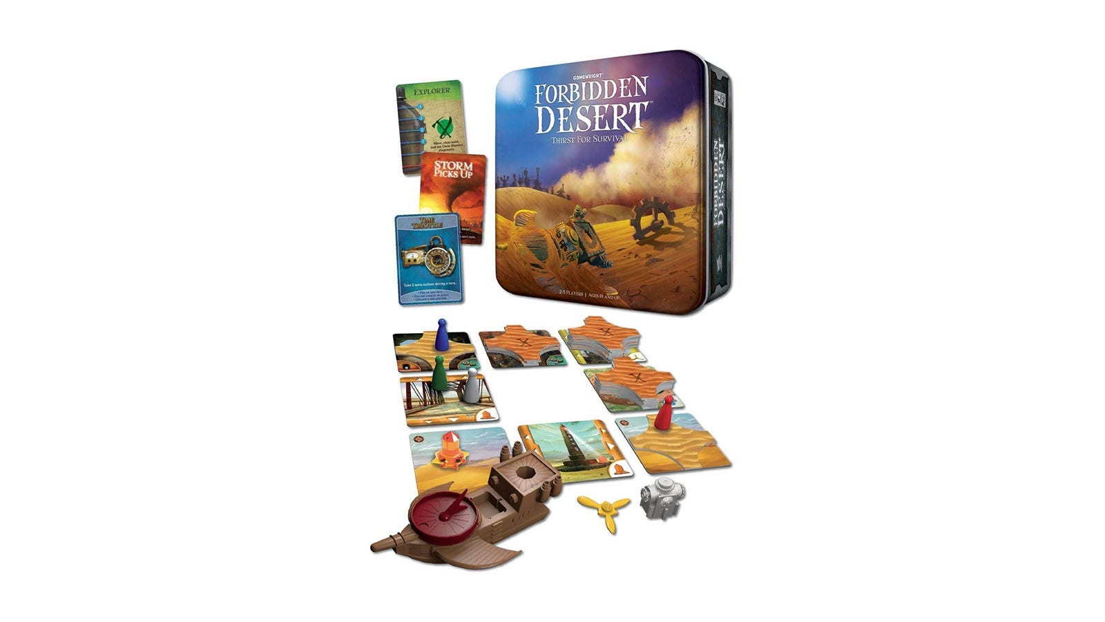 The Forbidden Desert game box and board featuring a solar-powered aircraft.