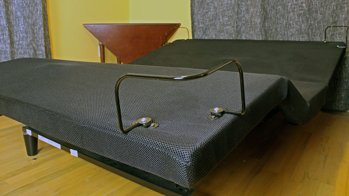 The R650 Adjustable Power Base with no mattress on it, and feet and head lifted.