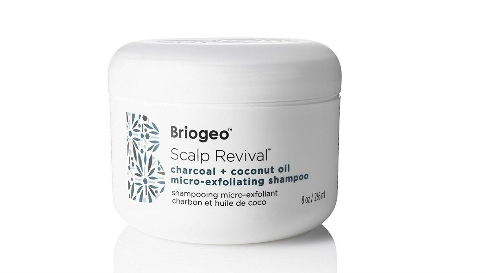 A jar of Briogeo Scalp Revival Charcoal + Coconut Oil Micro-Exfoliating Shampoo.
