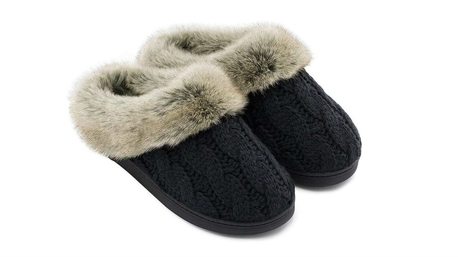 A pair of Ultraideas Women's Soft Yarn Cable Knitted Slippers in black.
