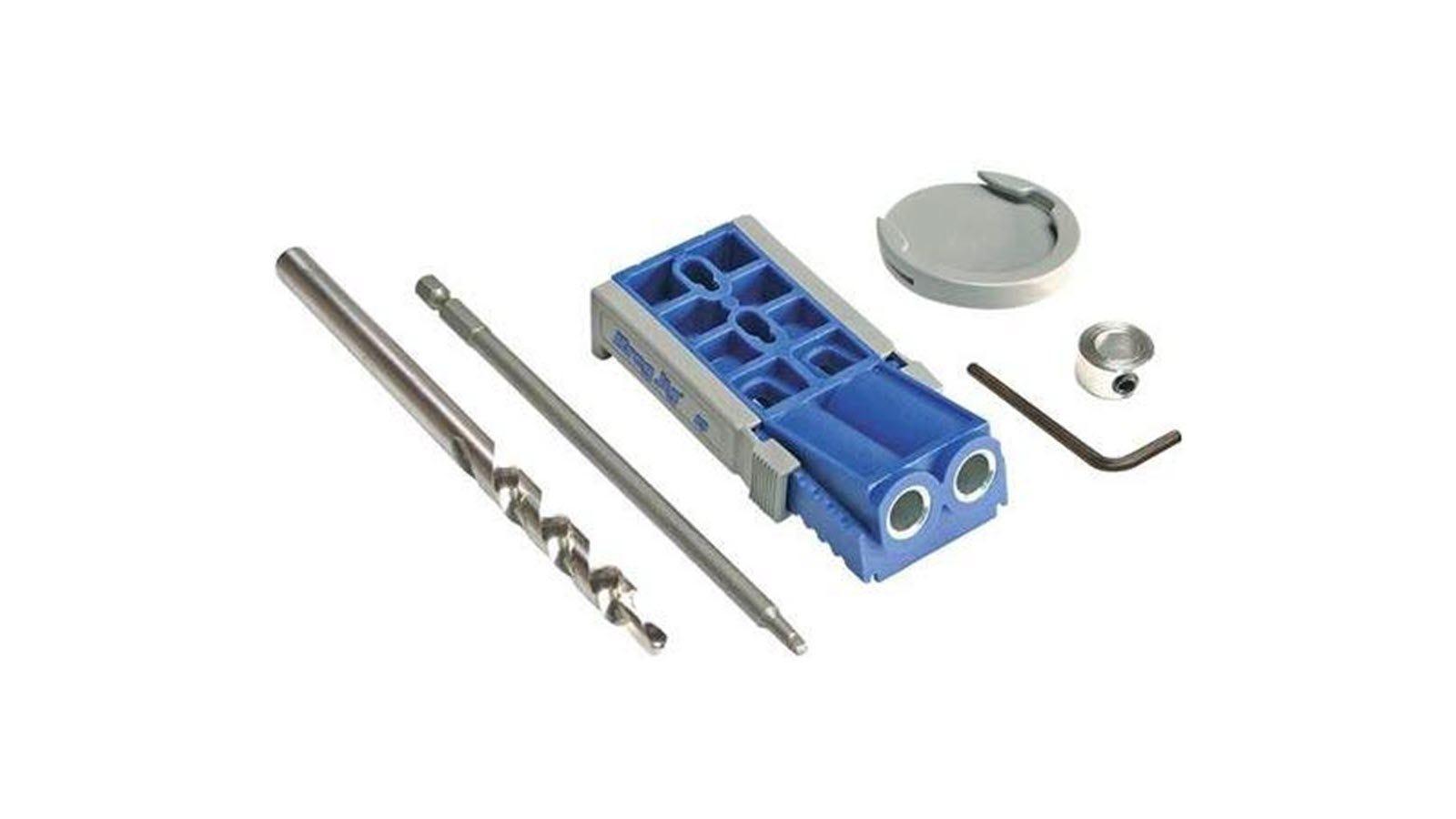 A Kreg R3 Pocket jig with drill bit, drive bit, and depth collar.