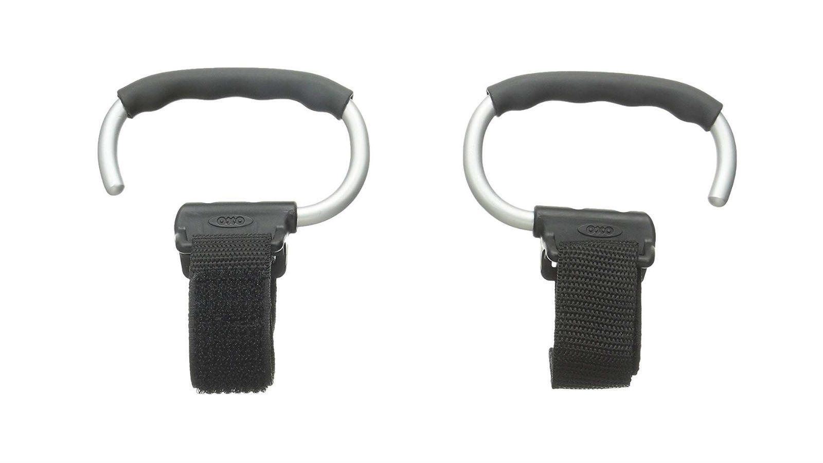 A pair of gray OXO Tot Handy Stroller Hooks.