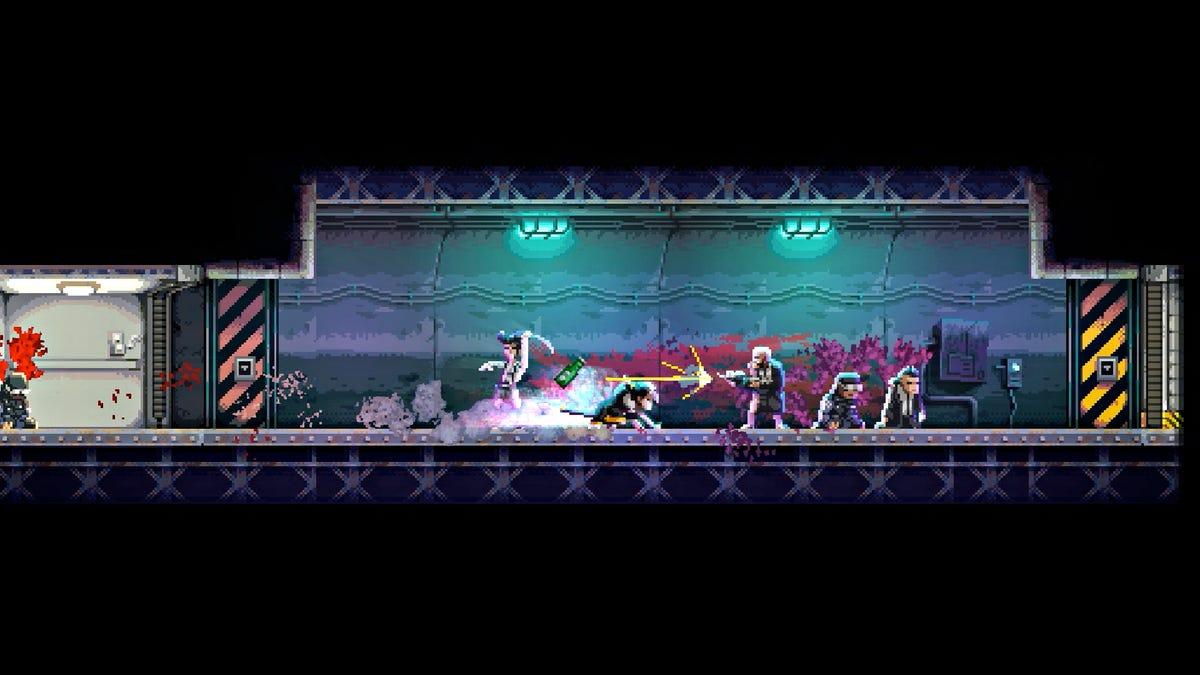 The player slides under a gunshot.