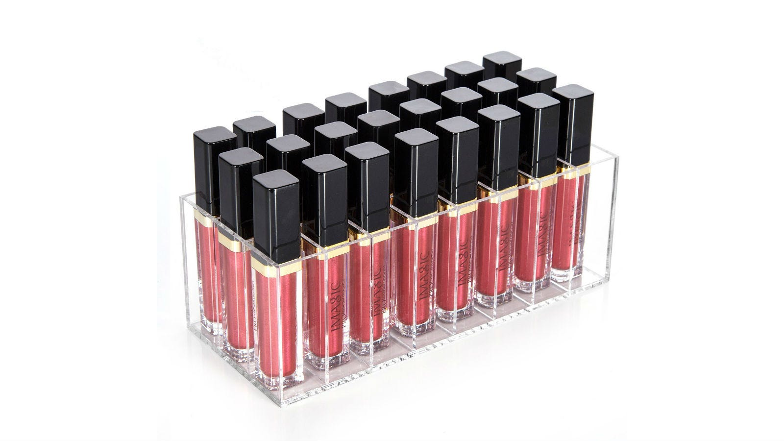 The hblife Lip Gloss Organizer filled with tubes of lip gloss.