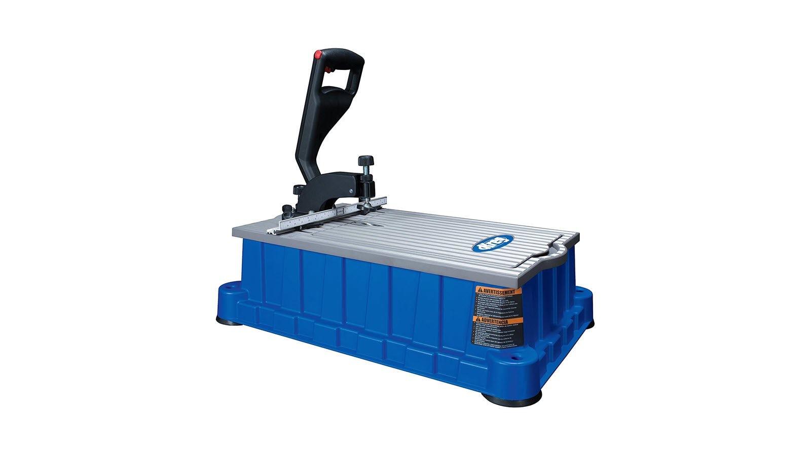A blue Kreg pocket hole machine with large black handle.
